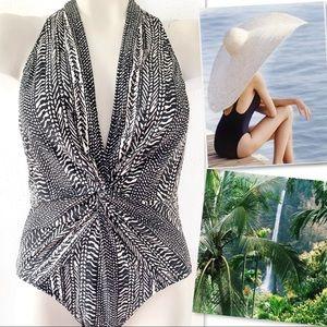Robin Piccone Renee' Batik Print Halter Swimsuit